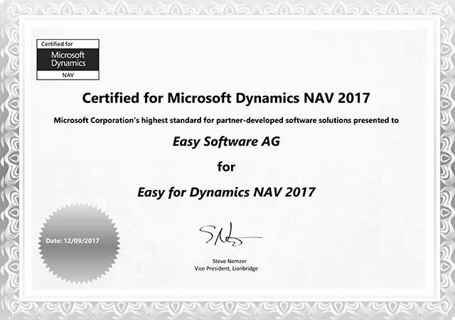 EASY for Dynamics Nav: successful certification - EASY