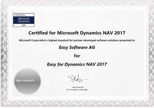 Certificate of the Navision interface