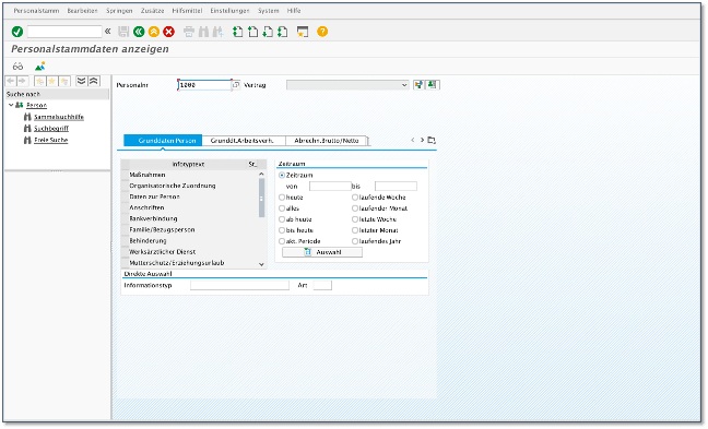 The SAP GUI of an HCM application