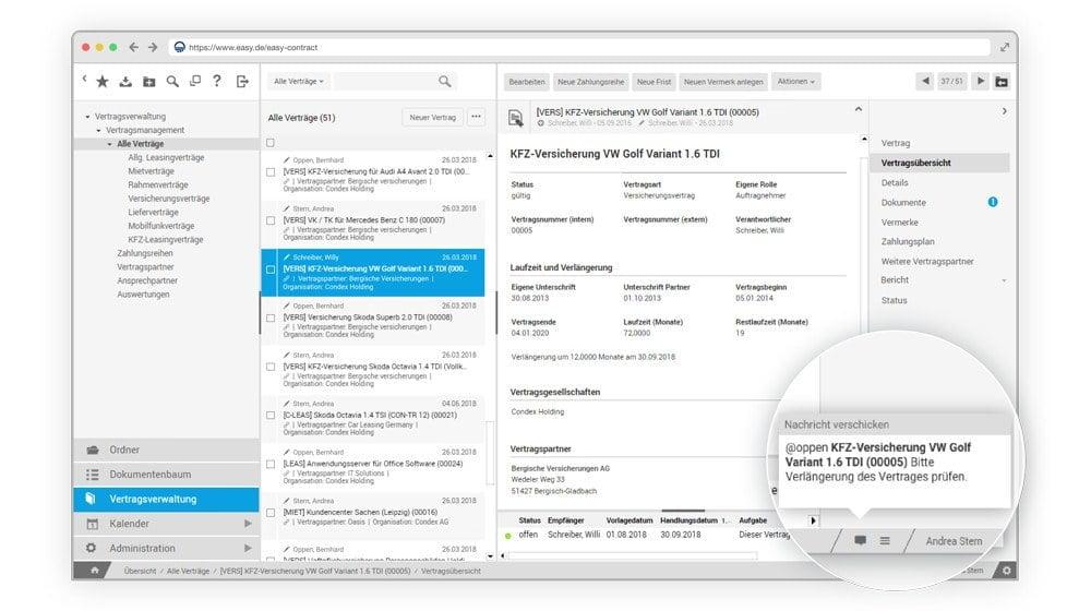 Auch das Empfangen von Nachrichten ist mit EASY Contract Management möglich.