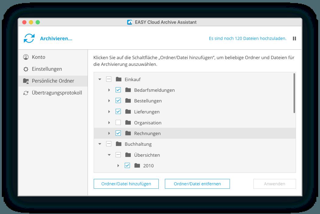 Der Assistent zur EASY Cloud auf dem Desktop