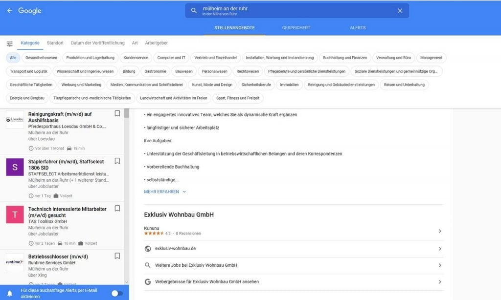 Google for Jobs Tool with filters