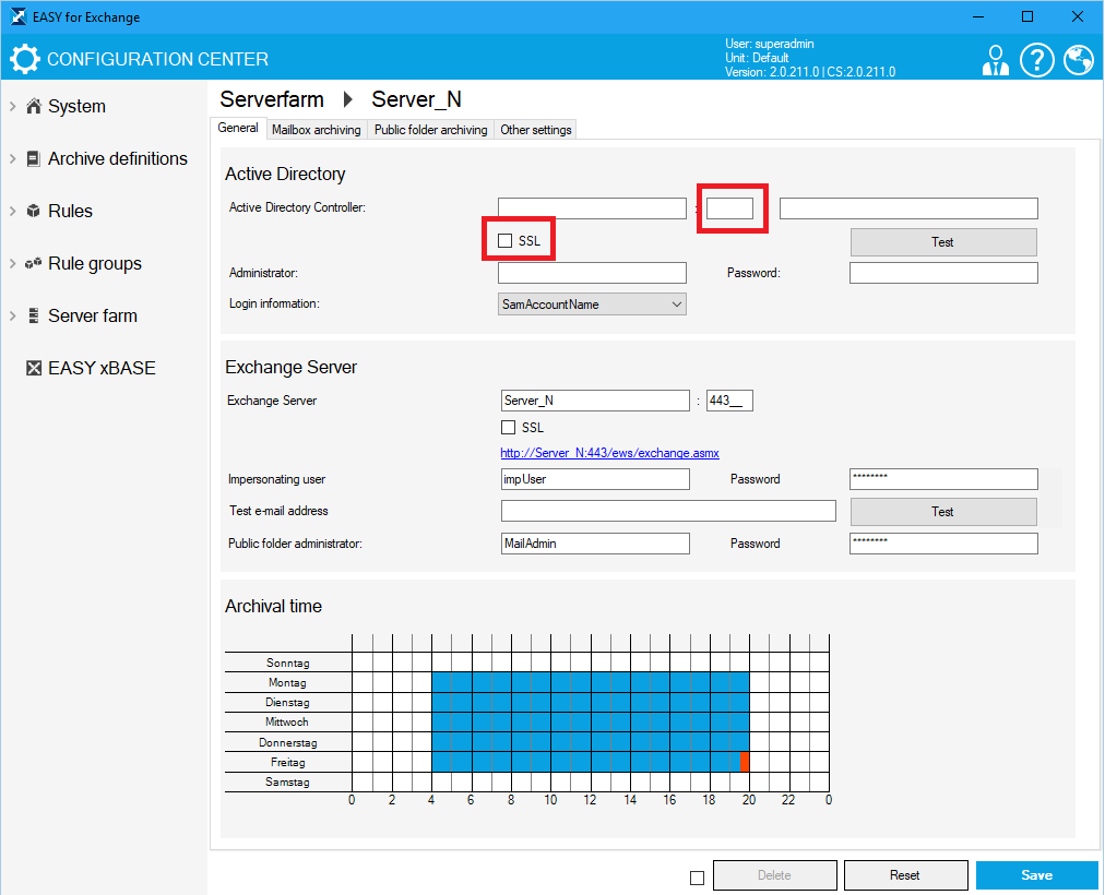 EASY for Exchange Configuration Center