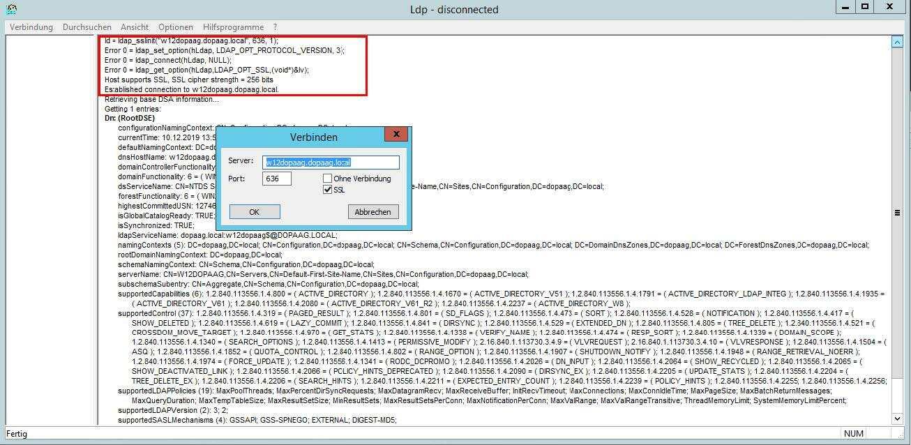 Über ldp -> Verbinden -> SSL