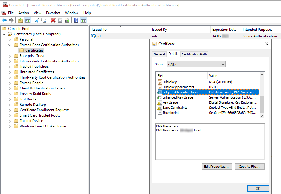 2.2 Zertifikat des Active Directory Controllers