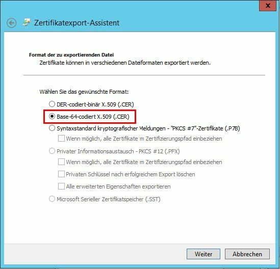 Zertifikatsexport Base-64-codiert veranlassen