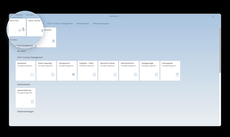 Vertragsmanagement mit SAP Fiori. Hier das Fiori Launchpad.