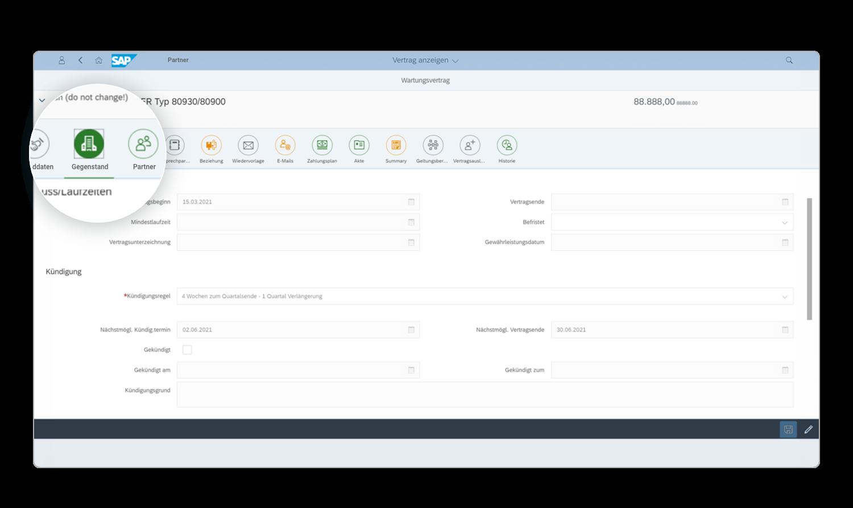 Die Vertragsakte in EASY Contract Management for SAP Solutions lässt Sie schnell in andere Business-Objekte abspringen.