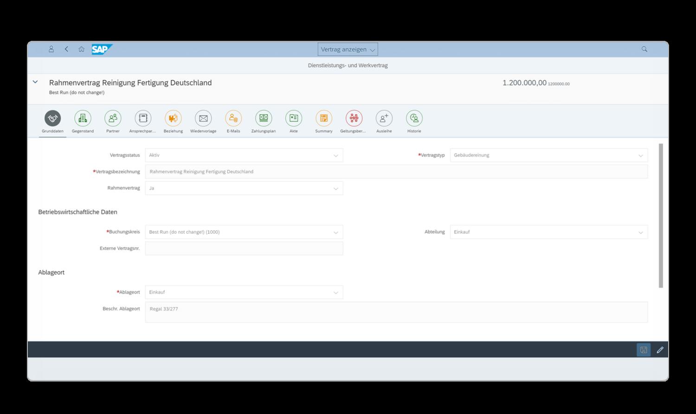 EASY Contract Management for SAP Solutions lässt Sie in SAP Business-Objekte anderer kaufmännischer Prozesse abspringen.